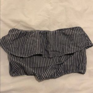 cropped strapless peasant striped top abercrombie